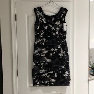 Adrianna Papell 18w blk floral cocktail dress NWT